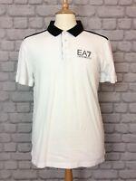 EA7 MENS UK L WHITE BLACK SLEEVE POLO SHIRT SHORT SLEEVE DESIGNER RRP £65
