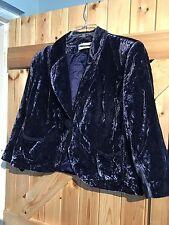 """Retro Vintage Crush Velvet Jacket Chest 38"""" Approx Size 14. Dark Blue Shimmer."""