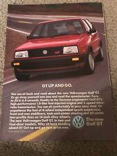 Vintage 1986 VOLKSWAGEN VW GOLF GT Print Ad RED RARE