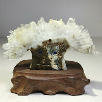 Natural crystal quartz cluster mineral specimen, handmade sculpture, Tree god