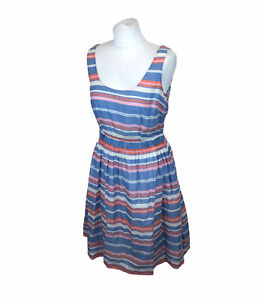 Boden Dress With Pockets Striped Blue Cotton Sz 10 UK Ladies