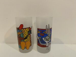 Vintage 1991 Looney Tunes Frosted Glass Bugs Bunny & Daffy Duck Warner Bros