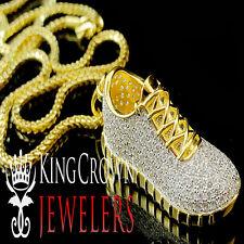 Mens 10K Yellow Gold Silver Lab Diamond Jordan 23 Shoe Pendant Charm 1.75 inch
