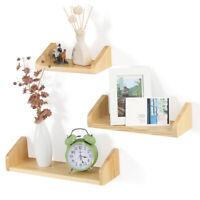 Set of 3 Floating Wall Mounted Shelves Bathroom Kitchen Display Storage Rack