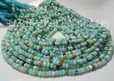 "13"" natural aqua blue PERUVIAN OPAL faceted gem stone rondelle beads 4mm - 4.5mm"
