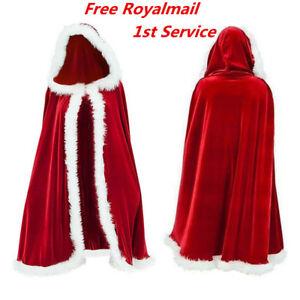 Mrs Santa Claus Christmas Fancy Dress Xmas Ladies Adults Costume Outfit Cloak