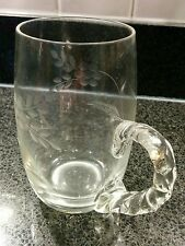 Engraved Glass Tankard with unusual twisted handle