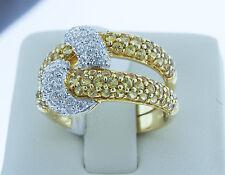 18K Yellow Gold Round Sapphire Narural White Diamonds Wrap Around Ring Size 6.5