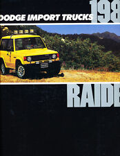 1989 Dodge Raider by Mitsubishi Original Car Sales Brochure Catalog - Montero