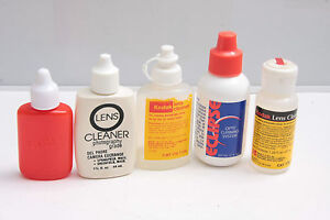 Assorted Collection of OLD Lens Cleaner Bottles - USED OPEN Mostly EMPTY C613