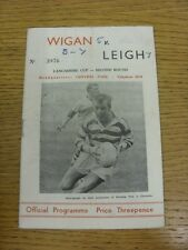 18/09/1963 Rugby League Programme: Wigan v Leigh [Lancashire Cup] (Creased, Scor