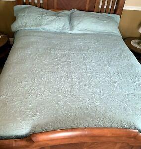 "Middleton Quilt Sea Green King Size 108"" x 92"" & 2 Pillow Shams Blanket Bedding"