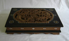 Indonesian Wooden Hand Carved Box Lizards & Mother Of Pearl