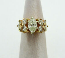 0.98ct MARQUISE DIAMOND ANNIVERSARY 14k Yellow gold RING  EGL APPRAISAL ID CARD