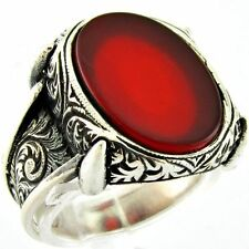 Bague Chevalière Homme Argent Massif 925 Serti Agate Rouge Mens Silver Ring