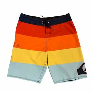 Quiksilver Board Shorts Men Size 32 Colorful Striped Quick Dry Waist Tie Surfing