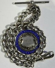 Lovely antique solid silver pocket watch albert chain with silver & enamel fob