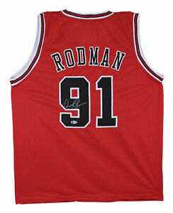 Dennis Rodman Authentic Signed Red Pro Style Jersey Autographed BAS Or PSA