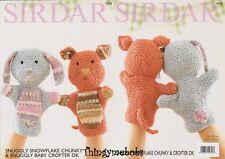 SIRDAR 4728 SNUGGLY SNOWFLAKE RABBIT/CAT HAND PUPPETS- ORIGINAL KNITTING PATTERN
