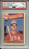 1985 Topps Tiffany Baseball 401 Mark McGwire Rookie Card RC Graded PSA Nr Mint 7