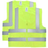 Solid Mesh High Visibility Safety Vest, ANSI/ ISEA 107-2010/ 2 pack