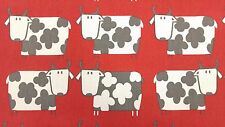 Moo Moo Cow Scarlet Red Curtain Craft Upholstery Designer Cotton Fabric