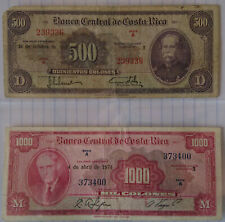 TWO OLD COSTA RICA BANKNOTE • 1000 COLONES 1974 and 500 COLONES 1973