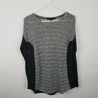 Sanctuary Womens Sweater Size S Black White Knit Long Sleeve Scoop Neck Sheer
