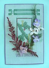 Romanian in collectables ebay vintage 1940s romanian merry christmas cardframe satin flowerribbon m4hsunfo