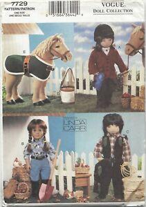 """Uncut OOP Vogue Pattern 7729 Western Wear Doll Clothes for Popular 18"""" Doll"""