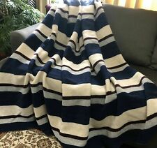 "Vintage Wool Blanket Blue Gray Striped 84x93"" Queen Cozy Lodge Cabin (Rf1043)"