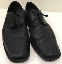 JOHNSTON & MURPHY 12 M BLACK LEATHER OXFORD CAP TOE DRESS SHOES MENS.
