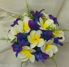 BRIDESMAID LATEX WHITE FRANGIPANI SILK BLUE SINGAPORE ORCHID WEDDING BOUQUET