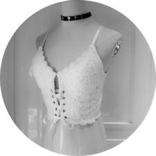Lady Cropped Vest Top Gothic Punk Bandage Tank Tops Lace Camisole Sleeveless Tee