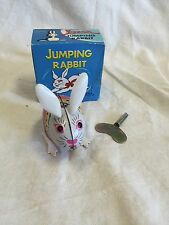 Vintage Red China Clockwork MS 083 Tin Litho Jumping Rabbit w/ Moving Eyes Works