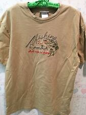 """""""Fishing & Grandkids What Else Is There"""" Embroidered T-Shirt - Tan - Size L"""