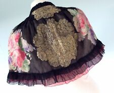 Antique 1920s Cape silk chiffon hand painted Roses Lame reversible Lace shawl