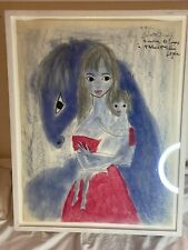 Lydia Corbett Woman And Child, Horse Ink&crayon Painting 1955's Signed