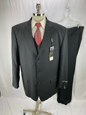 Tessori Men's Super 150 Wool Black Three Piece Suit 50L 45 x 39