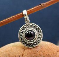Solid 925 Sterling Silver Jewelry Garnet Gemstone Handmade Office Wear Pendant