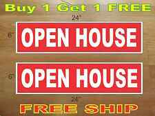 """White on Red Open House 6""""x24"""" Real Estate Rider Signs Buy 1 Get 1 Free 2 Sided"""
