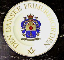 Porcelain Masonic presentation platter plate gilt Bing Grondahl Freemasons rare