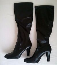 WOMEN'S FRANCO SARTO BLACK LEATHER KNEE-HIGH TALL BOOTS SIZE 7.5