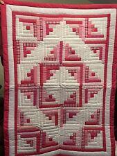 "Bold Pink Handmade Patchwork Log Cabin Baby Quilt 38""x52"""