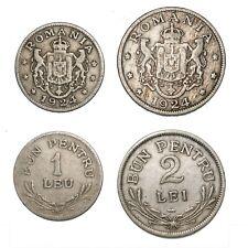 ROMANIA Ferdinand I Lotto due monete 1 Leu 1924 e 2 Lei 1924 (p)