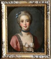c. 1800 FINE FRENCH OLD MASTER OIL PORTAIT OF A LADY IN DRESS WITH SILK BOW