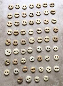 Lot Of 60 Civil War Era Antique Bovine Bone Buttons 2 Hole Reenactment