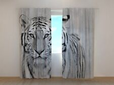 Ready Made Curtain with White Tiger Print Wellmira 3D Living Room Animals