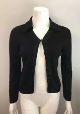 Stunning Emanuel Ungaro Petite Black Wool Collared Cardigan Sweater Size P