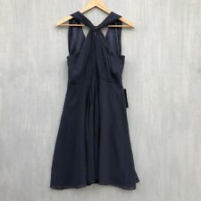 Ann Taylor Silk Chiffon Sleeveless Halter Dress 6 navy blue new